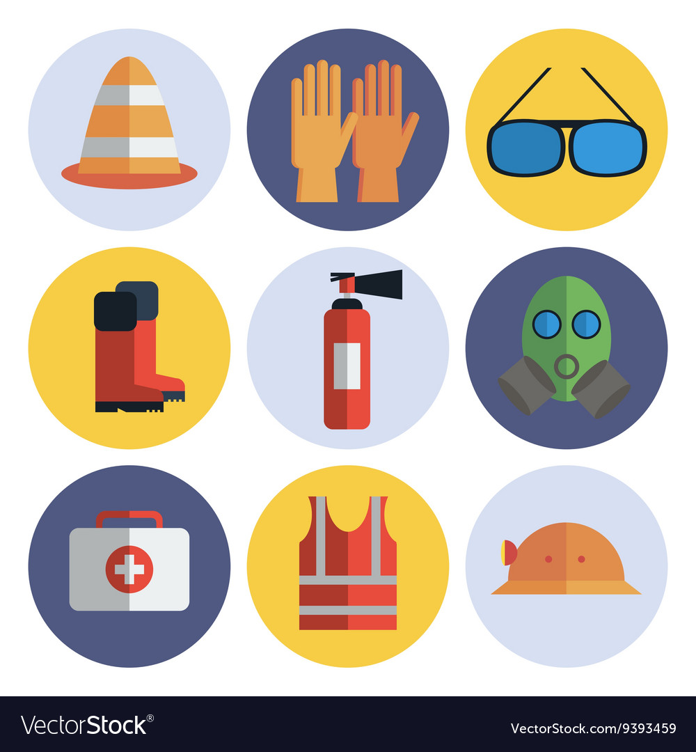 Safety equipment flat icon set.