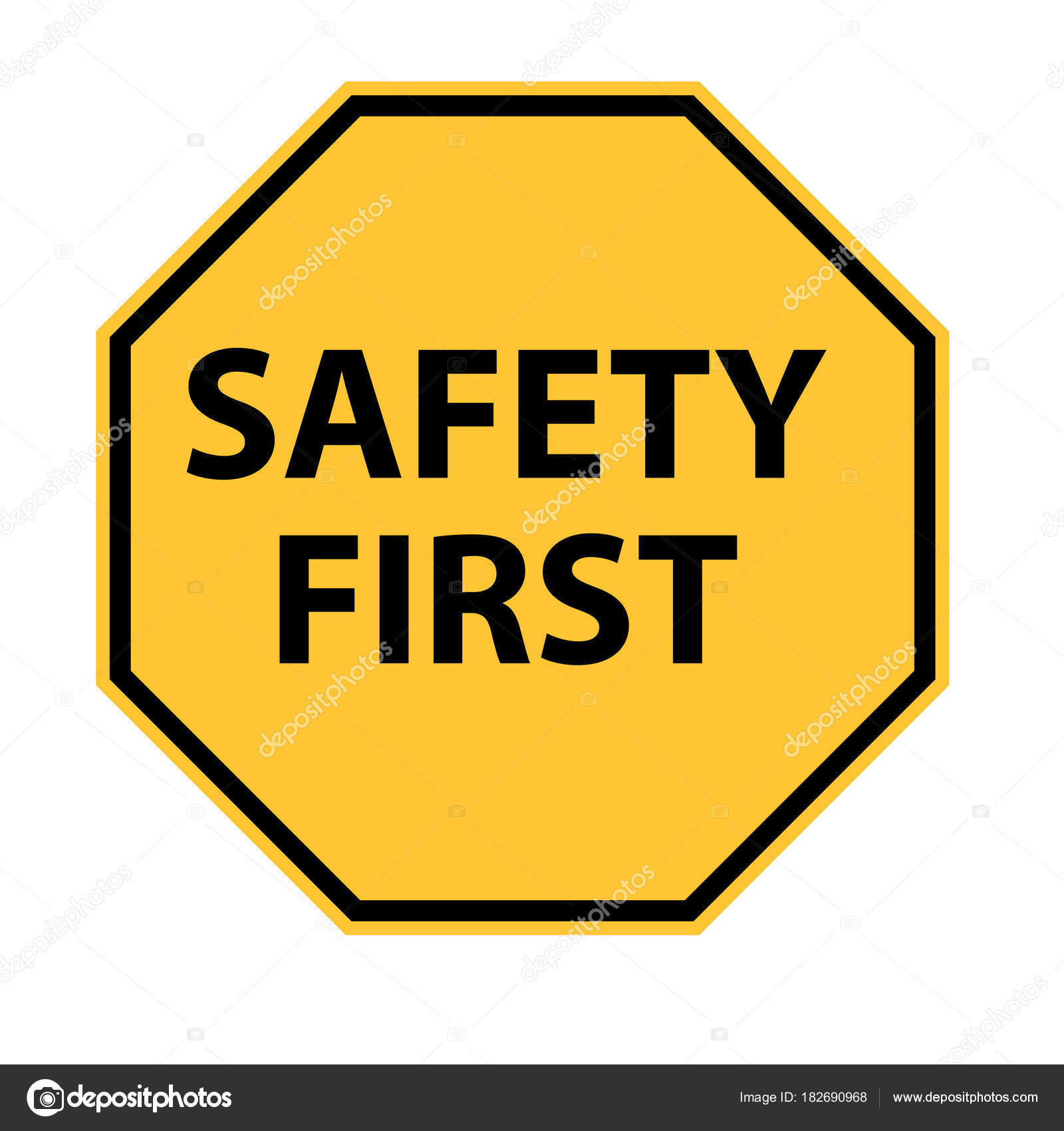Safety first logo on white background. safety first symbol.