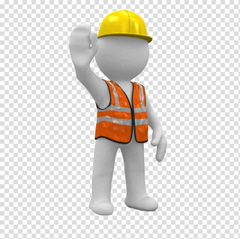 Stick man wearing yellow hard hat and safety vest.