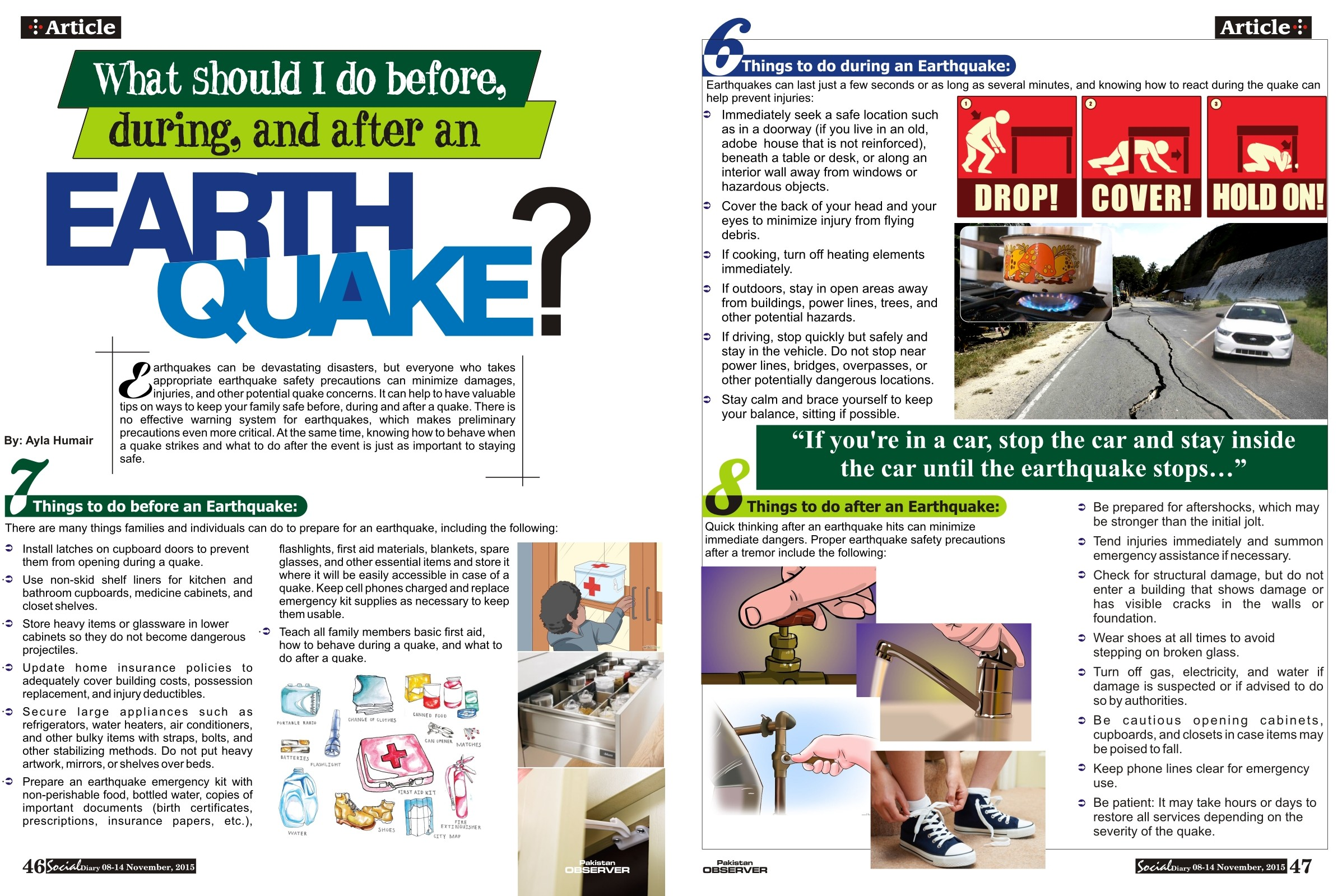 What should I do before, during, and after an EARTHQUAKE?.