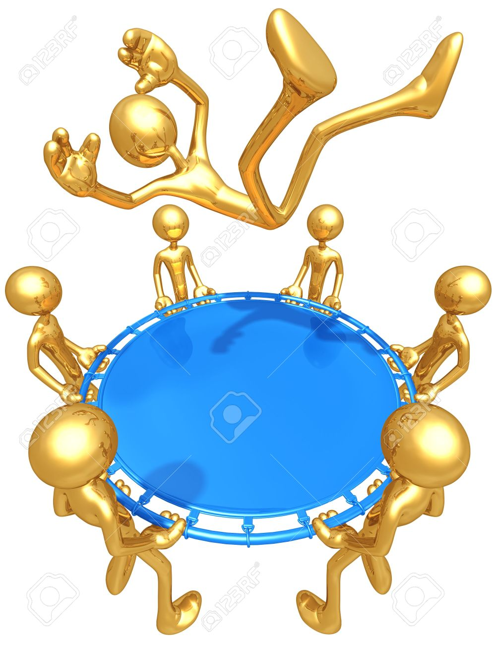 Gold Guys With Safety Net Catching Stock Photo, Picture And.