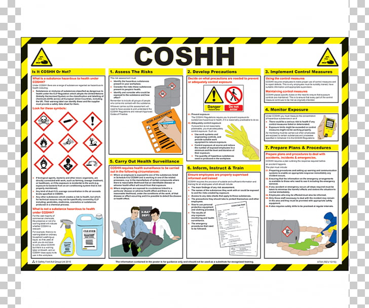 COSHH Poster Safety Graphic design, safety poster PNG.