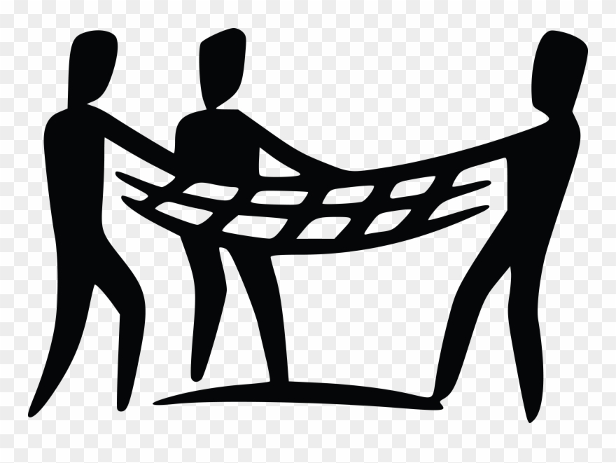Free Clipart Of A Team Holding A Safety Net.