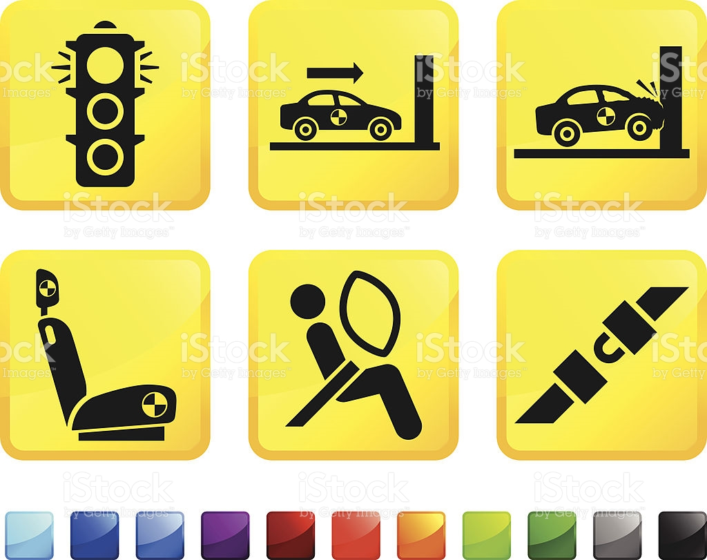 Auto Safety And Car Crash Test Vector Icon Set Stickers stock.