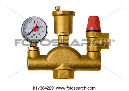 Stock Photograph of Crane safety valve boiler pressure k17384229.
