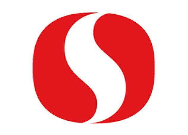 Safeway logo. uses negative space. it takes two shaded red.