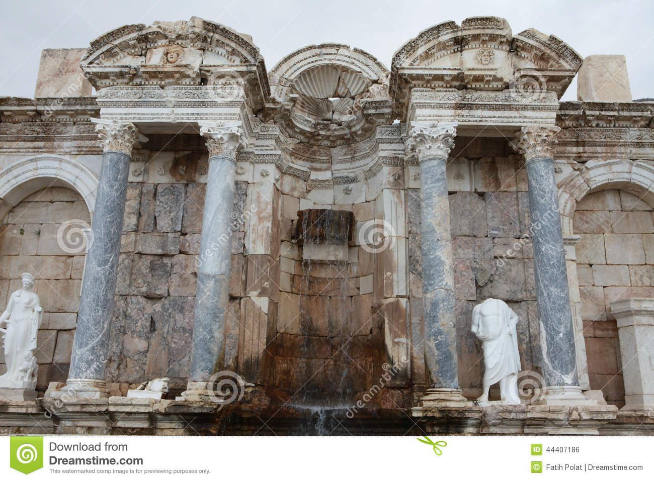 Antonine Nymphaeum In Sagalassos Ancient City In Burdur. Stock.