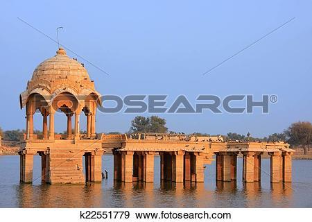Stock Photograph of Gadi Sagar temple at Gadisar lake, Jaisalmer.