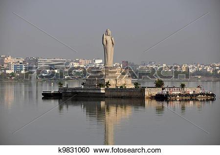 Stock Photography of Buddha, Hussain Sagar lake, Hyderabad.