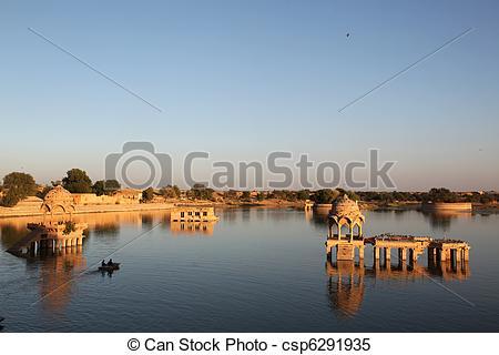 Stock Images of Gadi Sagar Lake Jaisalmer.