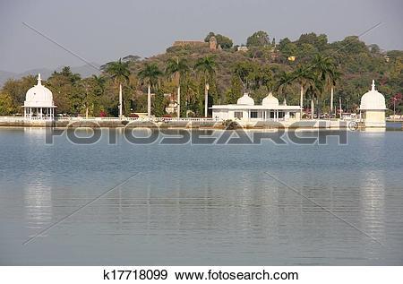 Stock Photograph of Fateh Sagar lake, Udaipur, India k17718099.