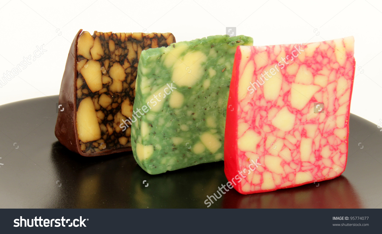 Sage Derby Cheddar Cheese Stock Photo 95774077.