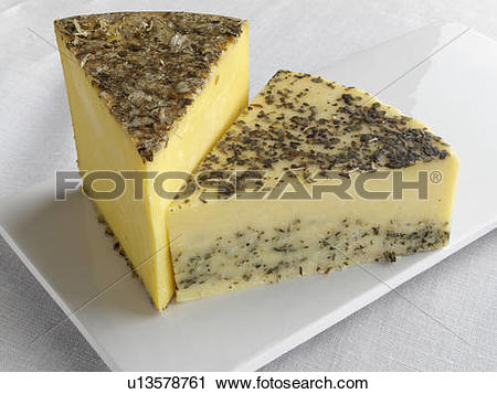 Stock Photography of Hereford Hop and Sage Derby cheese editorial.