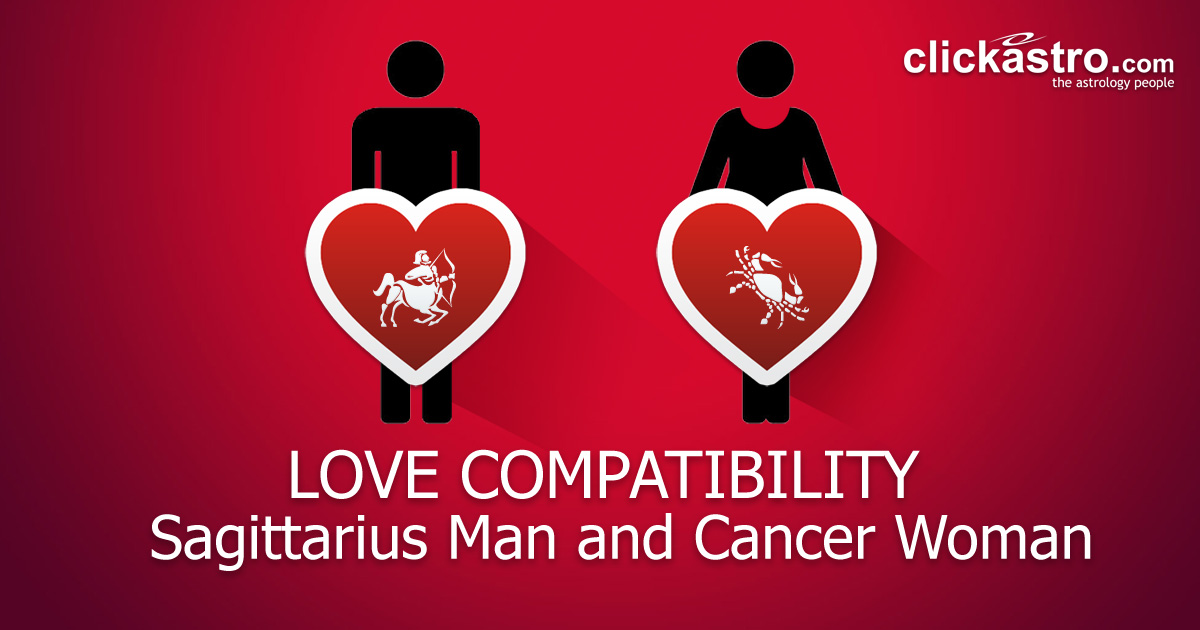 Sagittarius Man and Cancer Woman.
