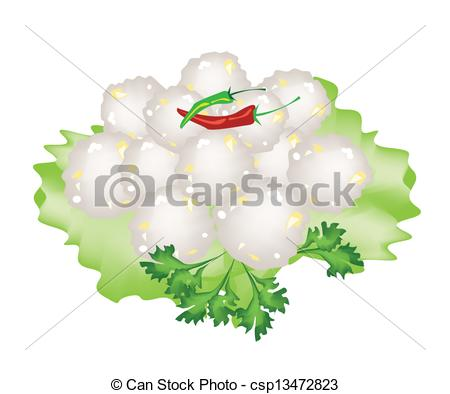 Vector Illustration of Steamed Sago Palms with Sweet Pork on White.
