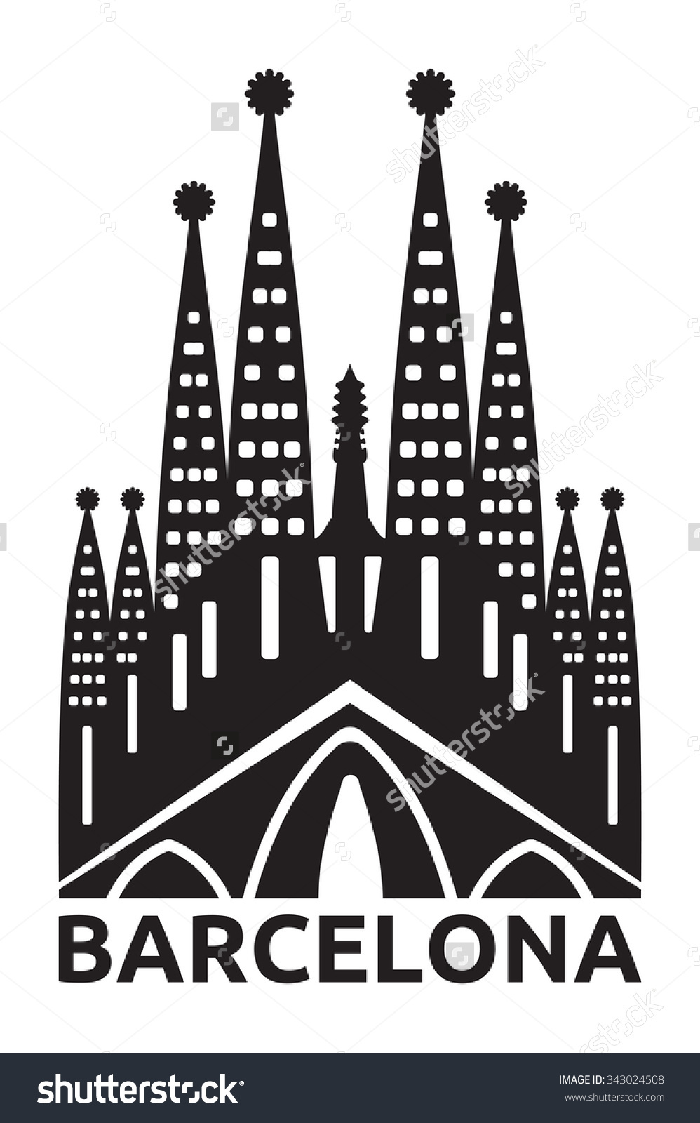 Sagrada Familia Silhouette Clip Art.
