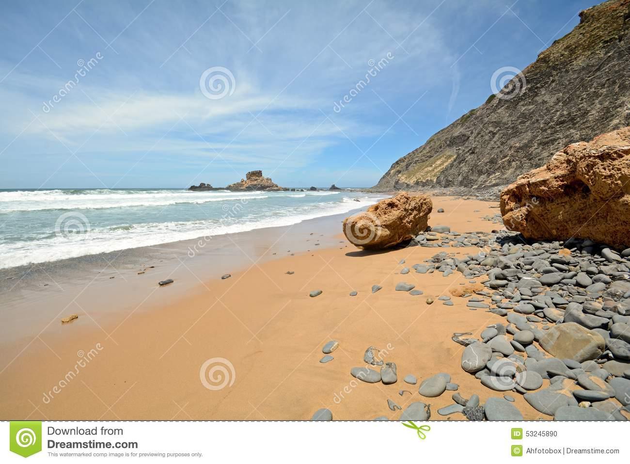Algarve: Rocks At Surfer Beach Praia Do Castelejo Near Sagres.