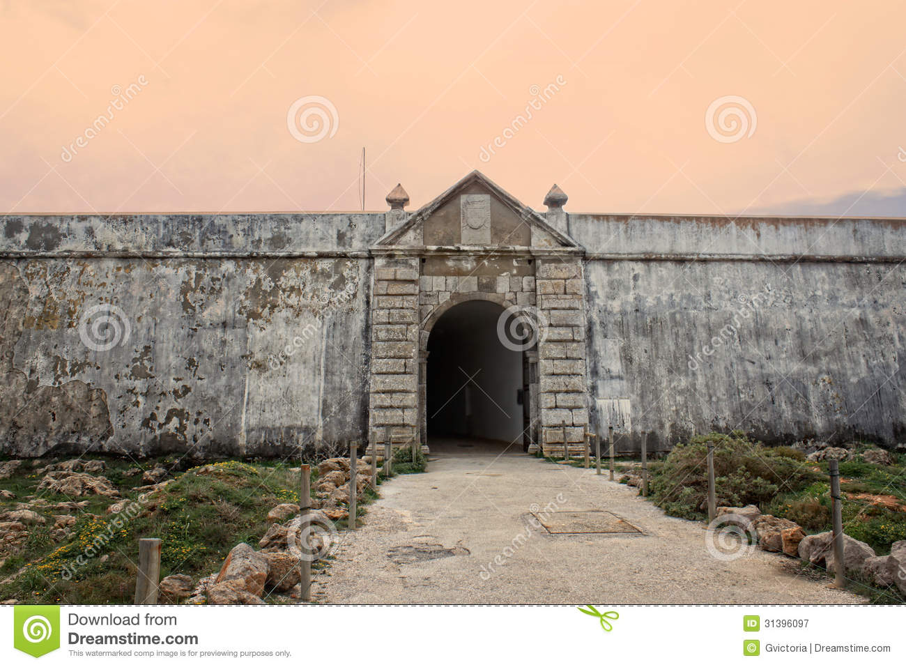 Sagres Fortress Entrance In Rugged Terrain Royalty Free Stock.