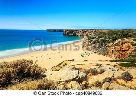 Stock Photos of Beliche Beach next to Sagres, Saint Vincent Cape.