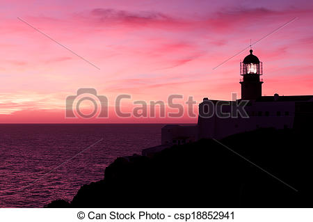 Stock Photo of Lighthouse of Cabo Sao Vicente, Sagres, Portugal at.