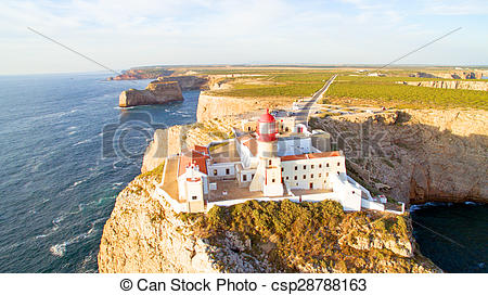 Stock Image of Aerial from the Lighthouse of Cabo Sao Vicente.