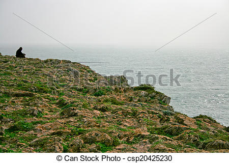 Stock Photos of Rod fisherman at Sagres cape.
