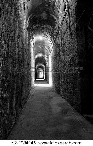 Stock Image of Interior corridor, Sagunto Roman amphitheater.