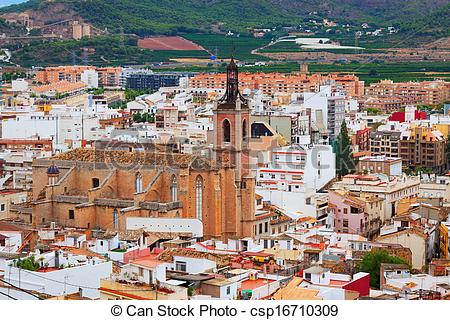 Stock Photography of Gothic church at Sagunto. Valencian Community.