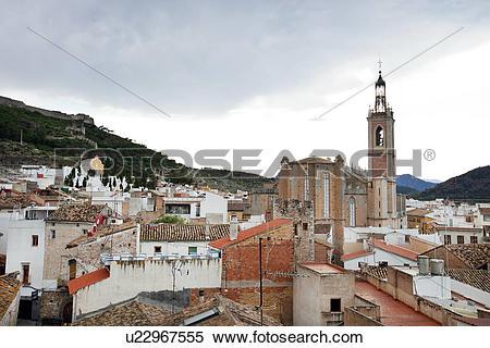 Stock Image of Rooftops of Sagunto, Spain u22967555.