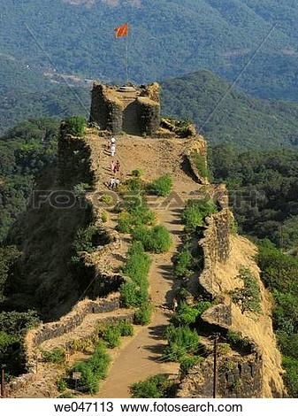 Stock Photo of Pratapgad fort, Sahyadri mountain range, western.
