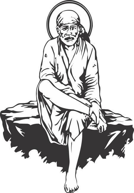 Sai Baba Clipart Vector.