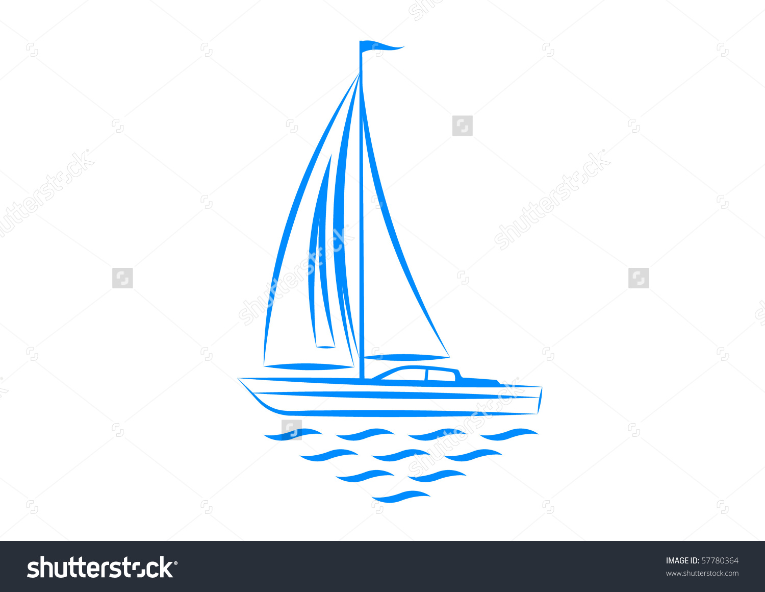 Clipart Sailboat Stock Vector 57780364.