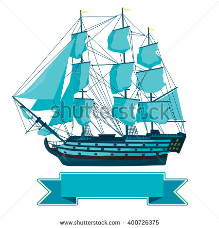 Pirate Ship Sailing Ship Under Jolly Stock Vector 122134564.