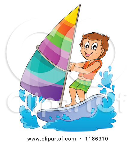 Clipart of a Parchment Page with a Windsurfing Boy.