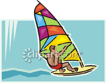 Young Man on a Brightly Colored Windsurfer.