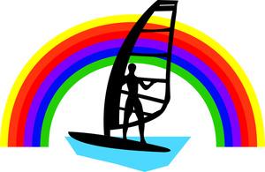 Windsurfing Clipart Image.