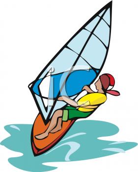 Clipart Image of a Windsurfer WIndsurfing.