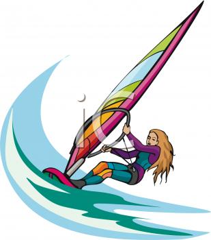 Female Windsurfer Clipart Image.