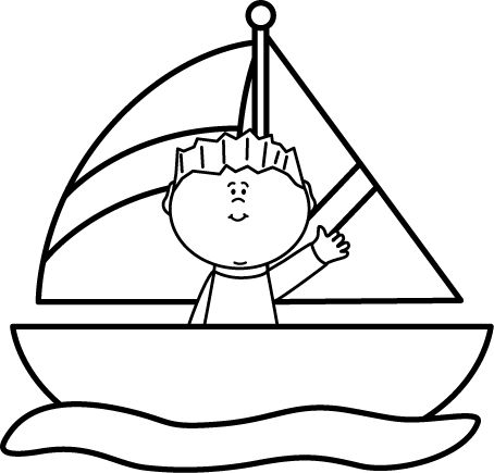 Black And White Clipart Sail Boats On Water.