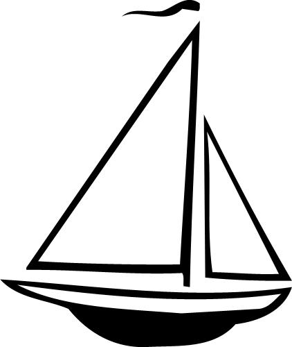Free Sailboat Clipart Silhouette Image.