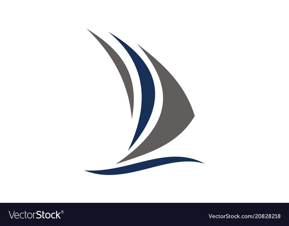 Sailboat logo design template.