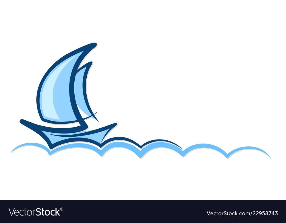 Logo blue sailboat.