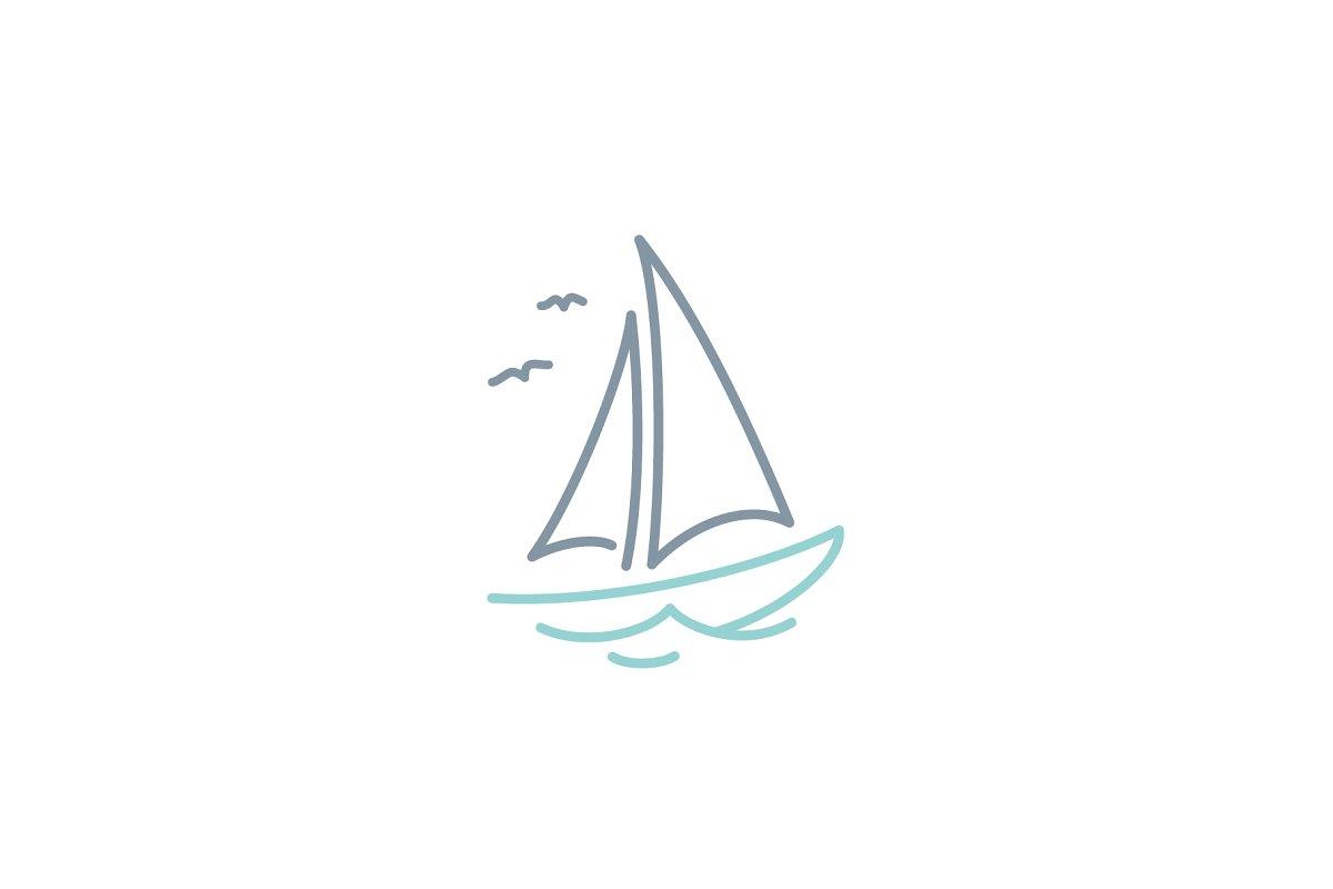 Simple Sailboat dhow ship boat logo.