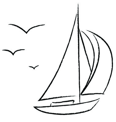 Sailboat black and white sailboat clipart outline pencil and.