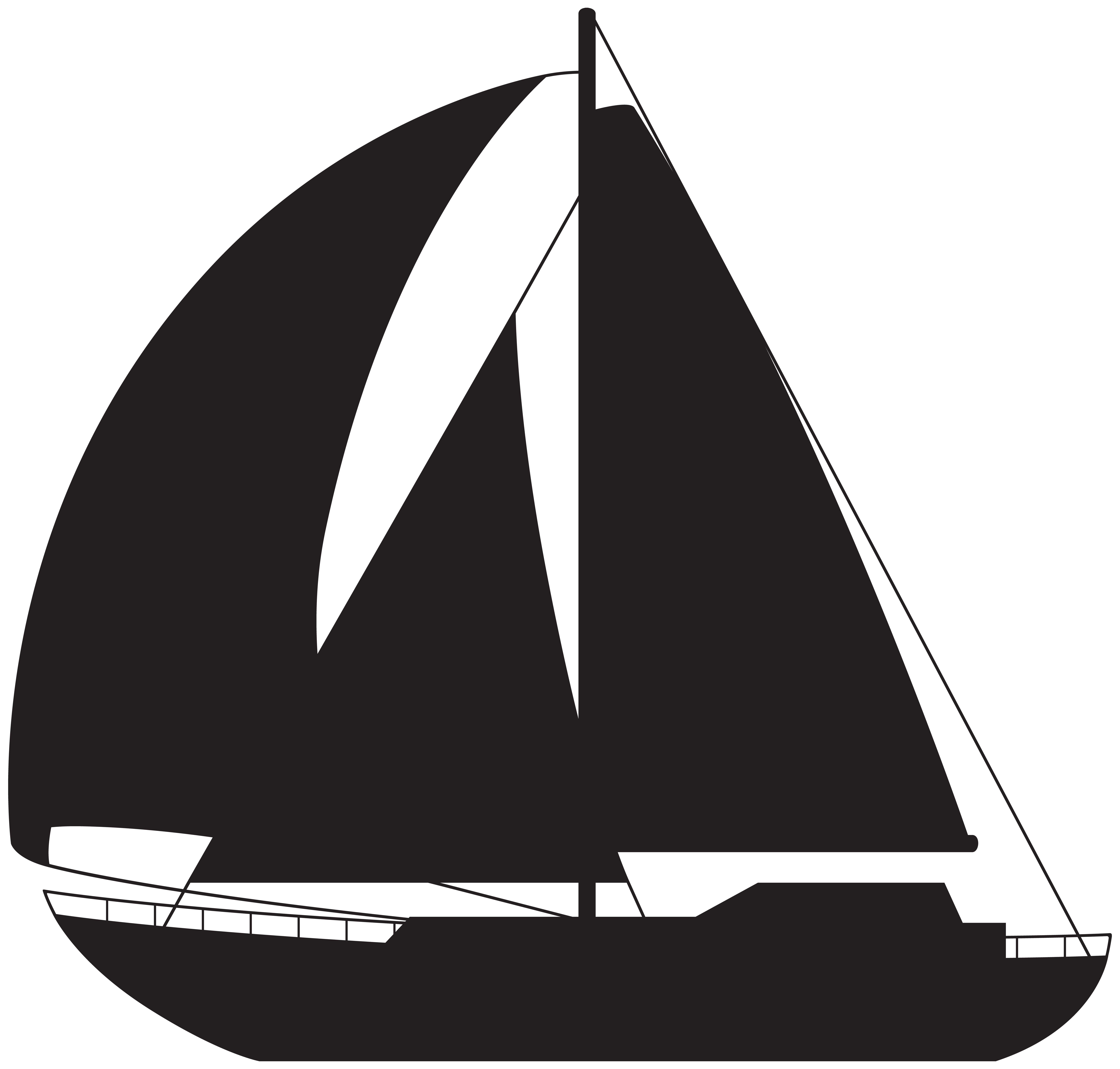 Sailboat Silhouette PNG Clip Art Image.