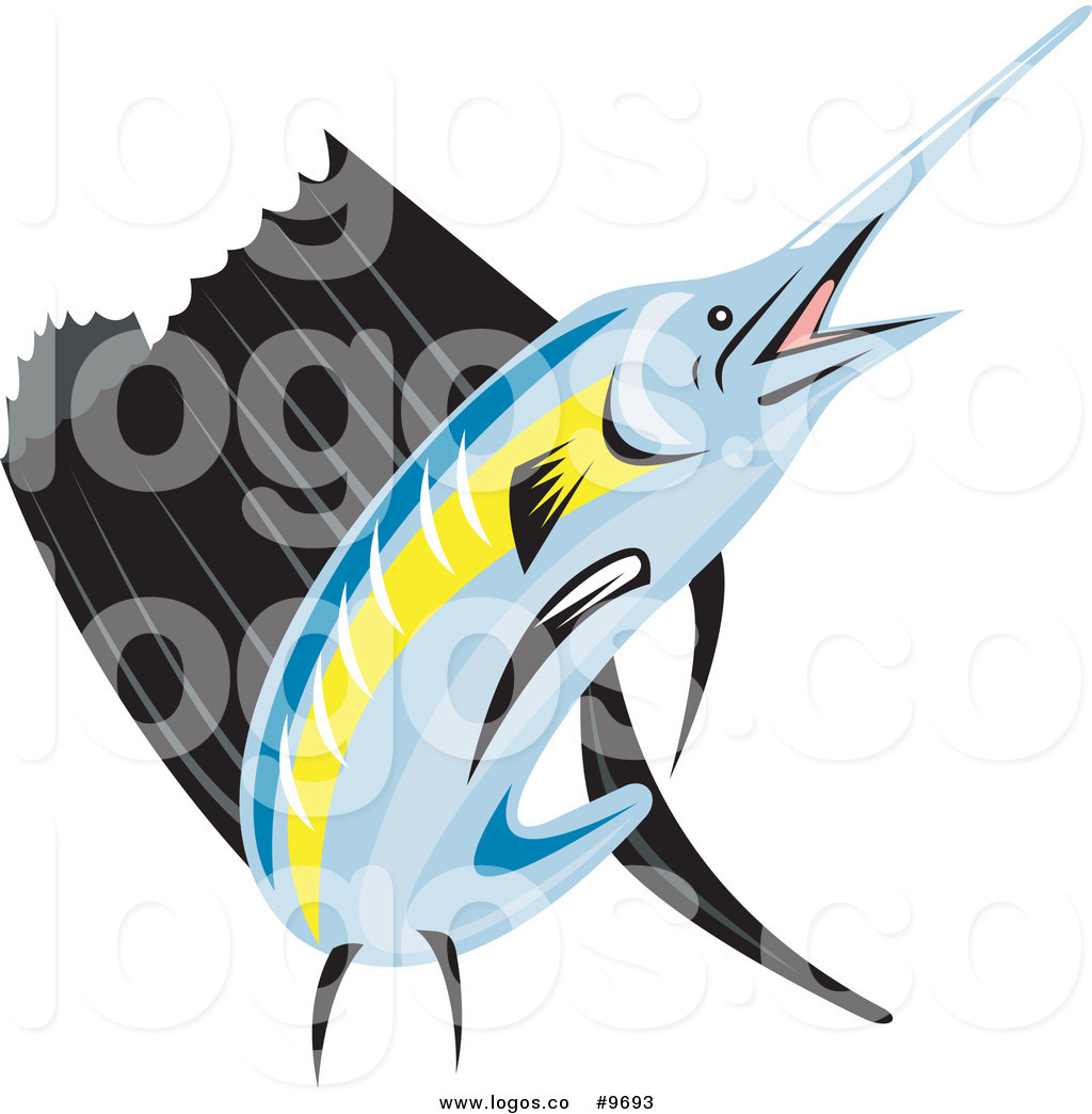 Royalty Free Clip Art Vector Retro Sailfish Logo by.