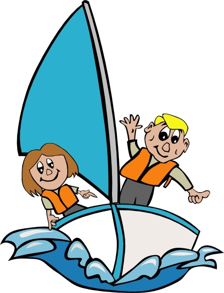 Kids Sailing clip art Free vector in Open office drawing svg.