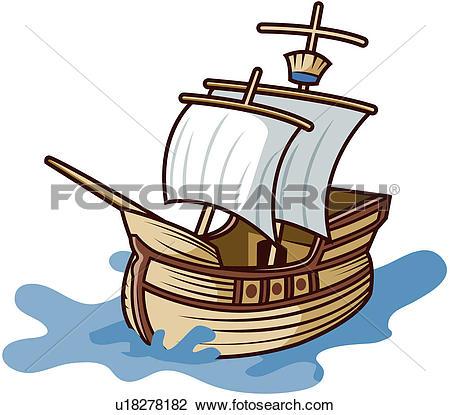 Clipart of sea, vessel, sailing, wind, sailboat, transportation.