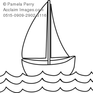 Clip Art Picture of a Sailboat.