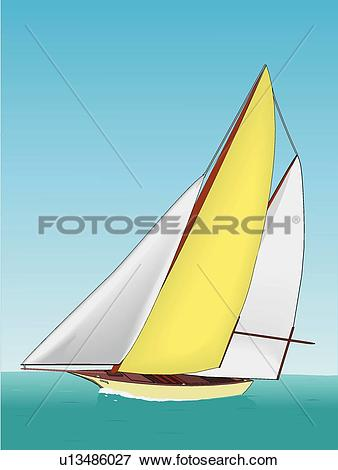 Clip Art of Sailboat u13486027.